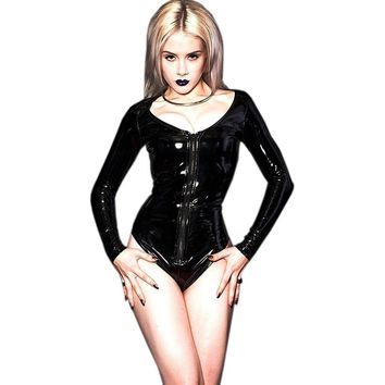 S-3XL Black Wetlook Vinyl Leather Long Sleeve Bodycon Bodysuit Women Jumpsuit 2017 Rompers Jumpsuits Playsuit Sexy Overalls