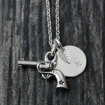 Silver Revolver Charm Necklace, Initial Charm Necklace, Personalized, Gun Charm, Law Enforcement Pendant, Gun Jewelry, Law Enforcement charm