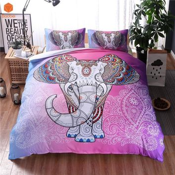 2017Bohemian Elephant Duvet Cover Set Single Double Queen King 2/3pcs Bedclothes Bed Linen Bedding Sets(No Sheet No Filling)