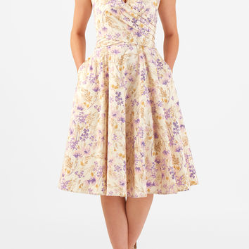 Washed floral print cotton sateen surplice dress
