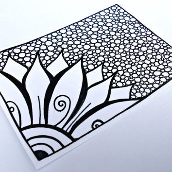 ACEO Flower Original Drawing Zentangle Inspired Art by JoArtyJo