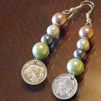 Indian Head/Buffalo Earrings with glass pearl beads