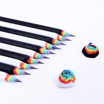 2Pcs/Set Stationery Rainbow HB Pencil Black and White Students Writing Pencil School Office Supplies Party Favor Gift 20