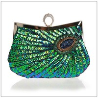 2016 PEACOCK Clutch Handbag,red green gold paillette Embroidery Ladies Evening Bag Wedding Party Purse Makeup Clutches WY23