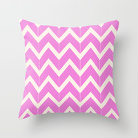 Fuchsia & Ivory Broken Chevron Throw Pillow by Beth Thompson