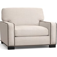 Turner Square Arm Upholstered Armchair with Nailheads