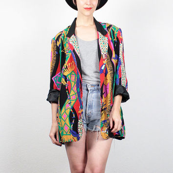 Vintage 80s Blazer Jacket 1980s New Wave Rainbow FEATHER Novelty Print Boyfriend Blazer Native American Southwestern Jacket L XL Extra Large