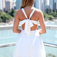 White Bow Back Criss Cross Front Skater Dress