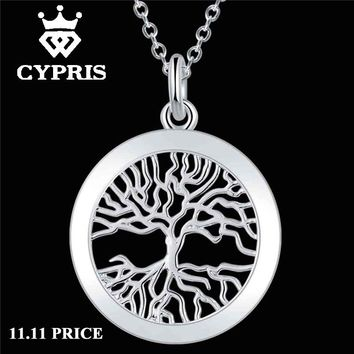 WHOLESALE festival silver chic pendant necklace Fashion Tree of life God mother Religion collares populares 18inch jewelry 925