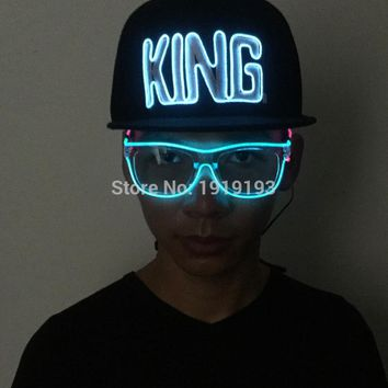 Creative 10 Colors Select Fashionable King Word Neon Led Strip Hip-Hop Flashing Cap Break-Boy Favors as Rave Costume Decor