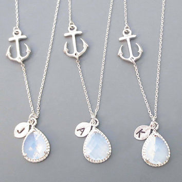 Set of 1-4, Personalized, Letter, Initial, Nautical, Sideways, Anchor, Opal, Glass, Gold, Silver, Necklace, Sets, Wedding, Bridesmaid, Gift