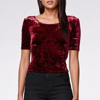 Kendall & Kylie Lace Up Back Top - Womens Tee - Red