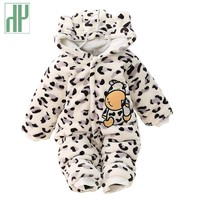 3 6 9 12 months baby clothes cute winter warm longsleeve coral fleece infant Leopard cow animals clothes baby boy girl rompers