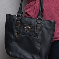 Lucky 21 Ring & Bar Faux Leather Tote Handbag - Black