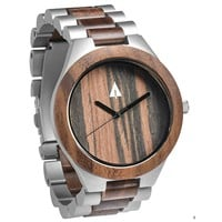 Stainless Steel Wood Watch // Silver Chase
