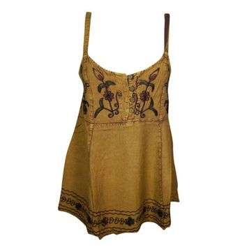Mogul Womens Mustard Floral Embroidered Spaghetti Top Beautiful Flare Rayon Boho Chic Tank Top Blouse S - Walmart.com