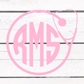 Solid Color Stethoscope Monogrammed Vinyl Decal For Yeti Tumblers, Cars, and Tech Devices