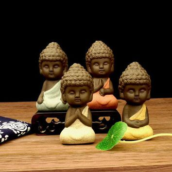 DKF4S small buddha statue monk figurine tathagata India Yoga Mandala tea pet purple ceramic crafts  decorative ceramic ornaments