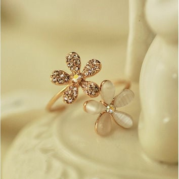 Daisy Flower Adjustable Ring Cute Brand Design Rhinestone Hot Sale Rings For Women