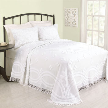 King Size 100% Cotton Bedspread with White Floral Trellis Chenille & Fringe Border