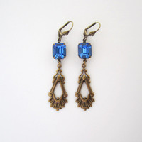 Fashion Jewelry - Art Deco Earrings with Deep Sapphire Blue Glass - Long Brass Dangle Earrings Leverback