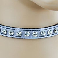 Clear Rhinestone on Silver Patent Leather Choker Sexy Collar