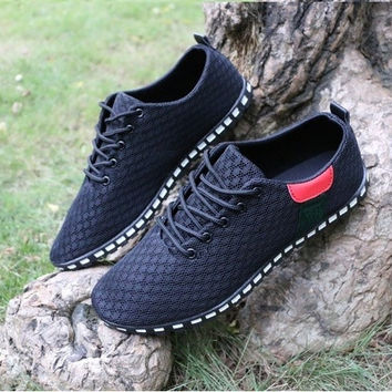Men's Casual Shoes Lace-Up Simple Breathable Shoes Mesh Sneakers