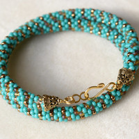 Green Turquoise beaded crochet rope necklace, brown, picasso, gold, bronze, seed bead jewelry