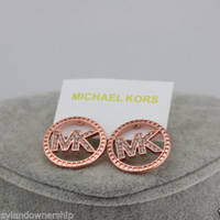 Michael Kors MK Pave Stud Earrings Rose Gold Tone Crystal Insets NEW MSRP $75