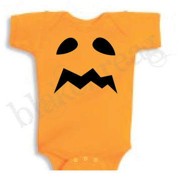 SAD Jack-O-Lantern Baby Shirt Creeper Baby Shower Infant T-Shirt Cute Halloween Costume ORANGE Romper Rabbit Skins