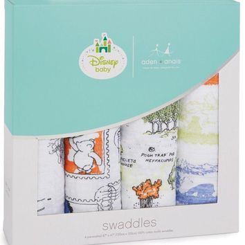 """Aden & Anais Classic Disney 47"""" x 47"""" Baby Swaddles Winnie The Pooh 4 Pack NEW"""