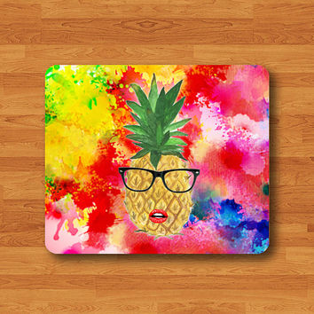 HIPSTER Pineapple Girl Wear Joking Glasses Mouse Pad Splash Color Painting Mousepad Mat Desk Work Deco Personalized Custom Christmas Gift