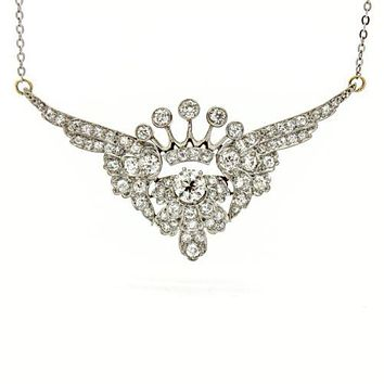4.25 Carat Diamond Crown with Wings Platinum White Gold Pendant Necklace