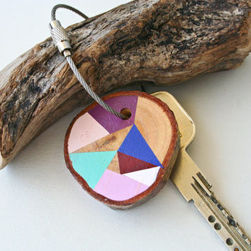 wood keychain with stainless steel cable wire Plus custom initial, tones of purple, mint, baby pink and blue geometric triangle shapes