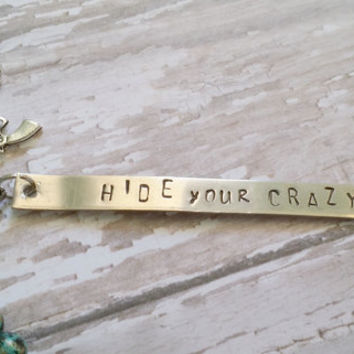 Hide Your Crazy Charm Bracelet / Hand Stamped Jewelry / Country Western Inspired / Cowgirl Chic Jewelry / Pistol Charm Bracelet