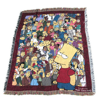 The Simpsons Tapestry Blanket 90s Bart Simpson Wall Hanging Picnic Beach Blanket Small Throw Blanket Wall Tapestry Knitted Tassel Fringe