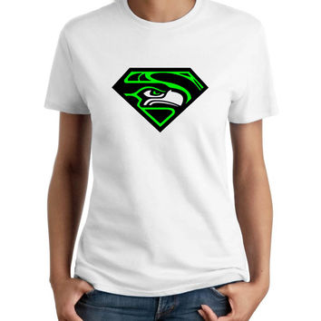 Superman Seattle Seahawks Football Parody Women T-Shirt