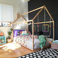 Toddler bed, house bed, tent bed, children bed, wooden house, wood house, wood nursery, kids teepee bed, wood house bed, wood bed frame crib