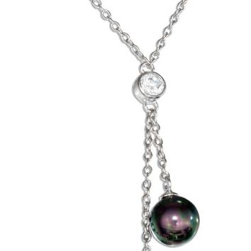 Sterling Silver Cubic Zirconia and Faux Gray and Black Pearl Lariat Drop Necklace