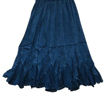 Royal Blue Embroidered Skirt Gypsy Long Maxi Skirt