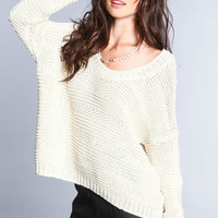 OFF SHOULDER CHUNKY KNIT SWEATER