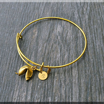 Gold Fortune Cookie Charm Expandable Bangle Bracelet, Adjustable Bangle, Stacking Charm Bracelet, Personalized Lucky Charm Bangle