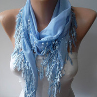 Light Blue and Elegance Shawl / Scarf with Lace by SwedishShop