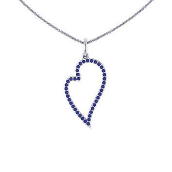 Blue Sapphire  Heart Necklace 14K White Gold Valentine's Gift Wedding Jewelry Women's Fine Jewelry Unique Neckalce Valentine's Gift  -V1122