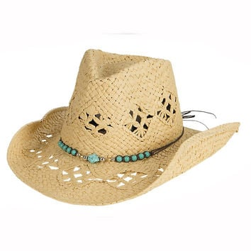Tropical Trends Womens Western Turquoise Beaded Straw Hat