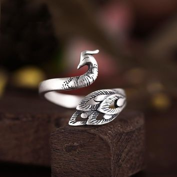 Real Pure 925 Sterling Silver Peacock Animal Rings for Women Fashion Wedding Rings Adjustable Ring sterling-silver-jewelry