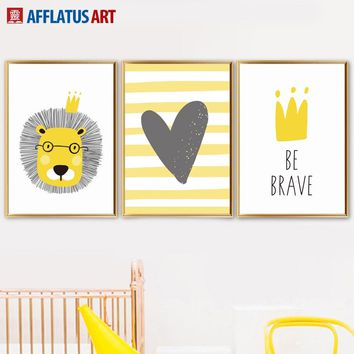 Cartoon Yellow Lion Crown Heart Wall Art Canvas Painting Nordic Posters And Prints Canvas Art Wall Pictures For Kids Room Decor