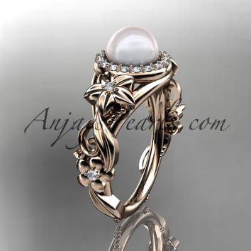 14kt rose gold diamond pearl unique engagement ring AP300