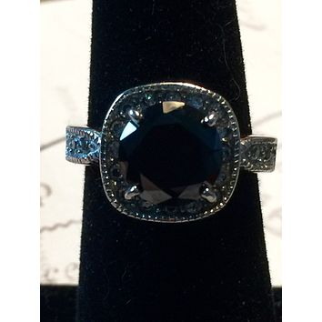 SALE   Morgana, A Vintage Perfect 2CT Round Cut Black AAAA CZ Engagement Ring