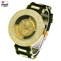 Jewelry Kay style Men's Hip Hop Iced Out 14k Gold Plated Silicone Band Techno Pave Watch 7982 GBK